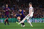 UEFA Champions League 2018/2019.<br /> Quarter-finals 2nd leg.<br /> FC Barcelona vs Manchester United: 3-0.<br /> Lionel Messi vs Scott McTominay.