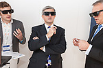 © Joel Goodman - 07973 332324  . 26/10/2011 . Manchester, UK . CHRIS HUHNE wearing 3D glasses during a live demonstration at the RenewableUK Energy Conference at the Manchester Central Convention Centre . Photo credit: Joel Goodman