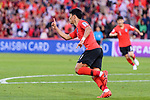 Hwang Heechan of South Korea celebrates after scoring his goal during the AFC Asian Cup UAE 2019 Round of 16 match between South Korea (KOR) and Bahrain (BHR) at Rashid Stadium on 22 January 2019 in Dubai, United Arab Emirates. Photo by Marcio Rodrigo Machado / Power Sport Images