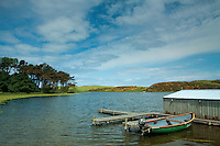The fly fishing loch of Coldingham Loch, near Coldingham, Scottish Borders