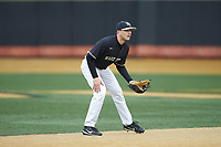 Wake Forest Demon Deacons shortstop Michael Turconi (6) on defense against the Illinois Fighting Illini at David F. Couch Ballpark on February 16, 2019 in  Winston-Salem, North Carolina.  The Fighting Illini defeated the Demon Deacons 5-2. (Brian Westerholt/Four Seam Images)