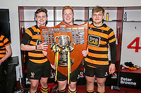 SCF2016 - RBAI vs Campbell College | Thursday 17th March 2016<br /> <br /> The front row - Neil Saulters, John Dickson and Callum Reid after the Ulster Schools Cup Final between RBAI and Campbell College at Kingspan Stadium, Ravenhill Park, Belfast, Northern Ireland. Photo credit: John Dickson / DICKSONDIGITAL