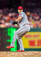 15 August 2017: Los Angeles Angels pitcher Andrew Bailey on the mound in relief against the Washington Nationals at Nationals Park in Washington, DC. The Nationals defeated the Angels 3-1 in the first game of their 2-game series. Mandatory Credit: Ed Wolfstein Photo *** RAW (NEF) Image File Available ***