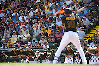 Pittsburgh Pirates infielder Jordy Mercer (10) bats in front of a crowd during a Spring Training game against the Boston Red Sox on March 12, 2015 at McKechnie Field in Bradenton, Florida.  Boston defeated Pittsburgh 5-1.  (Mike Janes/Four Seam Images)