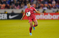 HOUSTON, TX - JANUARY 31: Hilary Jean #4 of Panama traps the ball during a game between Panama and USWNT at BBVA Stadium on January 31, 2020 in Houston, Texas.