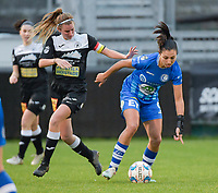 Chloe Van Mingeroet (17 of Aalst) and Jolet Lommen (9 of Gent)  pictured during a female soccer game between Eendracht Aalst and AA Gent Ladies on the 10 th matchday of the 2020 - 2021 season of Belgian Scooore Womens Super League , Saturday 19 th of December 2020  in Aalst , Belgium . PHOTO SPORTPIX.BE | SPP | DIRK VUYLSTEKE