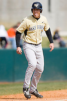 Mac Williamson #7 of the Wake Forest Demon Deacons takes his lead off of third base against the Virginia Tech Hokies at English Field March 27, 2010, in Blacksburg, Virginia.  Photo by Brian Westerholt / Four Seam Images
