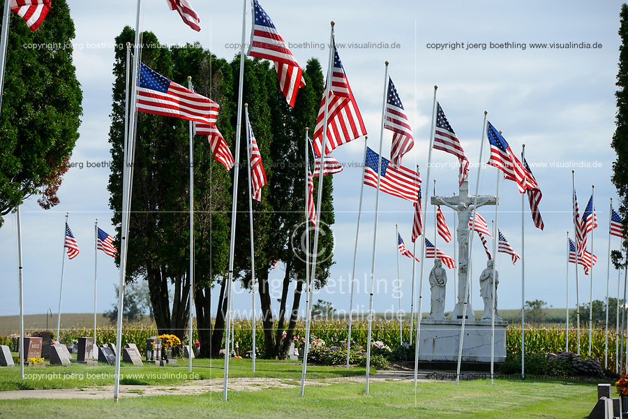USA, Iowa, Epworth, US flags on catholic cemetery, tribute of flags memorial day 9-11