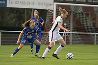 Amber Maximus (9) of Anderlecht and Alixe Bosteels (16) of AA Gent Ladies pictured during a female soccer game between RSC Anderlecht Dames and AA Gent Ladies  on the fourth matchday of the 2021 - 2022 season of Belgian Womens Super League , friday 10 th of September 2021 in Overijse , Belgium . PHOTO SPORTPIX | DIRK VUYLSTEKE
