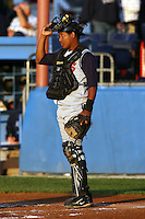 August 31, 2009:  Catcher Miguel Mendez of the State College Spikes during a game at Frontier Field in Rochester, NY.  State College is the NY-Penn League affiliate of the Pittsburgh Pirates.  Photo By Mike Janes/Four Seam Images