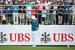 Justin Rose of England gestures after hitting the ball during Hong Kong Open golf tournament at the Fanling golf course on 24 October 2015 in Hong Kong, China. Photo by Xaume Olleros / Power Sport Images