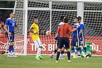 Foxborough, Massachusetts - September 8, 2015:  Brazil (yellow and white) beat the USA (blue) 4-1 in an International friendly match at Gillette Stadium.