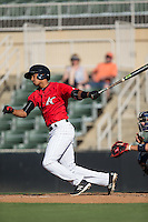 Johan Cruz (20) of the Kannapolis Intimidators follows through on his swing against the Greenville Drive at Intimidators Stadium on June 7, 2016 in Kannapolis, North Carolina.  The Drive defeated the Intimidators 4-1 in game one of a double header.  (Brian Westerholt/Four Seam Images)