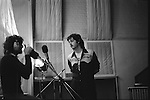 """Paul and Linda McCartney Wings Tour  1975. .Paul and Denny Laine in Abbey Road recording studio. London England. The photographs from this set were taken in 1975. I was on tour with them for a children's """"Fact Book"""". This book was called, The Facts about a Pop Group Featuring Wings. Introduced by Paul McCartney, published by G.Whizzard. They had recently recorded albums, Wildlife, Red Rose Speedway, Band on the Run and Venus and Mars. I believe it was the English leg of Wings Over the World tour. But as I recall they were promoting,  Band on the Run and Venus and Mars in particular."""