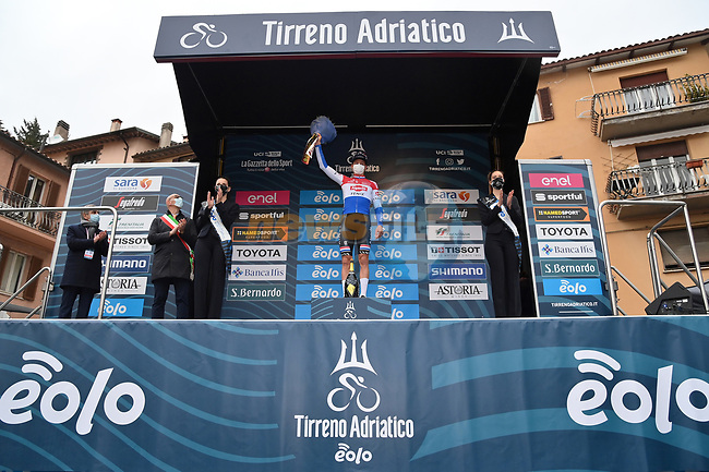 Dutch Champion Mathieu Van Der Poel (NED) Alpecin Fenix wins Stage 3 of Tirreno-Adriatico Eolo 2021, running 219km from Monticiano to Gualdo Tadino, Italy. 12th March 2021. <br /> Photo: LaPresse/Gian Mattia D'Alberto | Cyclefile<br /> <br /> All photos usage must carry mandatory copyright credit (© Cyclefile | LaPresse/Gian Mattia D'Alberto)