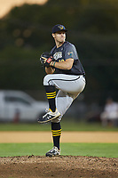Wilson Tobs relief pitcher Alex Fenton (20) (Davidson College) in action against the High Point-Thomasville HiToms at Finch Field on July 17, 2020 in Thomasville, NC. The Tobs defeated the HiToms 2-1. (Brian Westerholt/Four Seam Images)