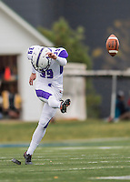 8 October 2016: Amherst College Purple & White Kicker Charlie Wall, a Junior from Arlington, VA, kicks off during a game against the Middlebury College Panthers at Alumni Stadium in Middlebury, Vermont. The Panthers edged out the Purple & While 27-26. Mandatory Credit: Ed Wolfstein Photo *** RAW (NEF) Image File Available ***