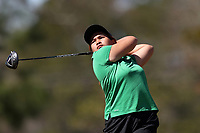 WALLACE, NC - MARCH 09: Praew Nontarux of USC Upstate tees off on the 14th hole of the River Course at River Landing Country Club on March 09, 2020 in Wallace, North Carolina.