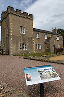 Cumbria, England, UK.  Birdoswald Fort, Hadrian's Wall Footpath.  Victorian house from the mid-1800s, within the original confines of the fort.
