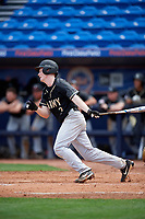 Army West Point second baseman Josh White (3) at bat during a game against the Michigan Wolverines on February 18, 2018 at First Data Field in St. Lucie, Florida.  Michigan defeated Army 7-3.  (Mike Janes/Four Seam Images)