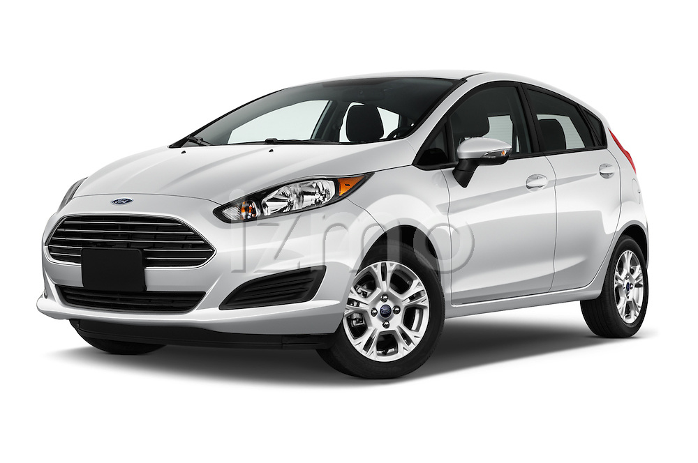Stock pictures of low aggressive front three quarter view of 2017 Ford Fiesta SE 5 Door Hatchback Low Aggressive
