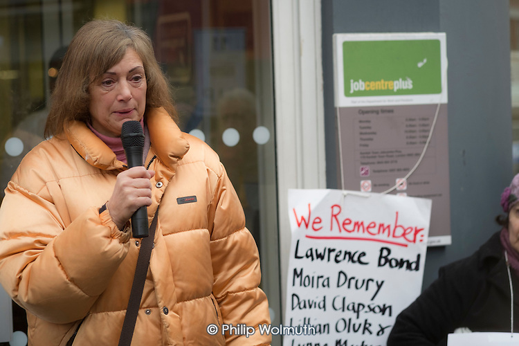 Iris Green, sister of Lawrence Bond. Vigil for Lawrence Bond, who died after being found fit for work and losing his disability benefits, Kentish Town Jobcentre London.