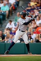 Trenton Thunder right fielder Rashad Crawford (20) at bat during a game against the Richmond Flying Squirrels on May 11, 2018 at The Diamond in Richmond, Virginia.  Richmond defeated Trenton 6-1.  (Mike Janes/Four Seam Images)