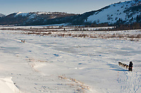 Paul Gebhart in front of Bruce Linton as they run on the Unalakleet slough ice after leaving Unalakleet during the 2010 Iditarod