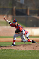 NJIT Highlanders starting pitcher Johnny Malatesta (20) delivers a pitch to the plate against the High Point Panthers at Williard Stadium on February 18, 2017 in High Point, North Carolina. The Panthers defeated the Highlanders 11-0 in game one of a double-header. (Brian Westerholt/Four Seam Images)
