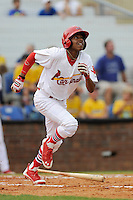 Left fielder Anthony Ray (3) of the Johnson City Cardinals in a game against the Elizabethton Twins on Sunday, July 27, 2014, at Howard Johnson Field at Cardinal Park in Johnson City, Tennessee. The game was suspended due to weather in the fifth inning. (Tom Priddy/Four Seam Images)