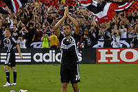 DC United midfielder Fred (7) salutes the fans after the victory. DC United defeated the Los Angeles Galaxy 1-0 at RFK Stadium in Washington DC, Thursday August 9, 2007.