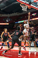 COLLEGE PARK, MD - FEBRUARY 9: Tekia Mack #31 and Mael Gilles #13 of Rutgers watch a shot by Kaila Charles #5 of Maryland during a game between Rutgers and Maryland at Xfinity Center on February 9, 2020 in College Park, Maryland.