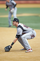 Louisville Cardinals first baseman Logan Wyatt (43) on defense against the Wake Forest Demon Deacons at David F. Couch Ballpark on March 18, 2018 in  Winston-Salem, North Carolina.  The Demon Deacons defeated the Cardinals 6-3.  (Brian Westerholt/Four Seam Images)