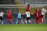 Yussuf Poulsen (Dänemark, Denmark) klaert - Innsbruck 02.06.2021: Deutschland vs. Daenemark, Tivoli Stadion Innsbruck