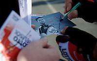 Jonas Van Genechten (BEL/Lotto-Belisol) signing rider cards before the start<br /> <br /> stage 1<br /> Euro Metropole Tour 2014 (former Franco-Belge)