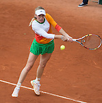 Caroline Wozniacki (DEN) loses to Yanina Wickmayer (BEL) 7-6, 4-6, 6-2 at  Roland Garros being played at Stade Roland Garros in Paris, France on May 27, 2014