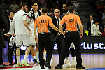 Real Madrid´s coach Pablo Laso is expelled during 2014-15 Liga Endesa match between Real Madrid and Unicaja at Palacio de los Deportes stadium in Madrid, Spain. April 30, 2015. (ALTERPHOTOS/Luis Fernandez)