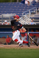 Batavia Muckdogs third baseman Bubba Hollins (34) at bat during a game against the Williamsport Crosscutters on August 3, 2017 at Dwyer Stadium in Batavia, New York.  Williamsport defeated Batavia 2-1.  (Mike Janes/Four Seam Images)