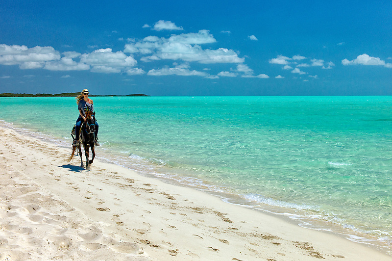 Horse rider troting on beach. Providenciales. Turks and Caicos..