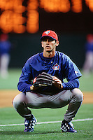 Shawn Green of the Toronto Blue Jays during a game against the Anaheim Angels at Angel Stadium circa 1999 in Anaheim, California. (Larry Goren/Four Seam Images)