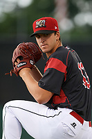Batavia Muckdogs pitcher Colton Hock (13) poses for a photo before a game against the Williamsport Crosscutters on August 3, 2017 at Dwyer Stadium in Batavia, New York.  Williamsport defeated Batavia 2-1.  (Mike Janes/Four Seam Images)