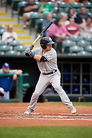 Colorado Springs Sky Sox second baseman Nate Orf (6) at bat during a game against the Oklahoma City Dodgers on June 2, 2017 at Chickasaw Bricktown Ballpark in Oklahoma City, Oklahoma.  Colorado Springs defeated Oklahoma City 1-0 in ten innings.  (Mike Janes/Four Seam Images)