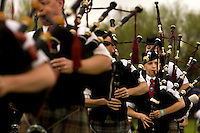 A young bag pipe player performs during the Loch Norman games in Huntersville, NC.