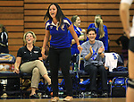 Marymount University volleyball coaches, from left, Beth Ann Wilson, Johannah Zabal and Stan Stemp react to first round action at the 6th annual Worthington Classic at Gallaudet University in Washington, D.C., on Friday, Sept. 28, 2012. .Photo by Cathleen Allison