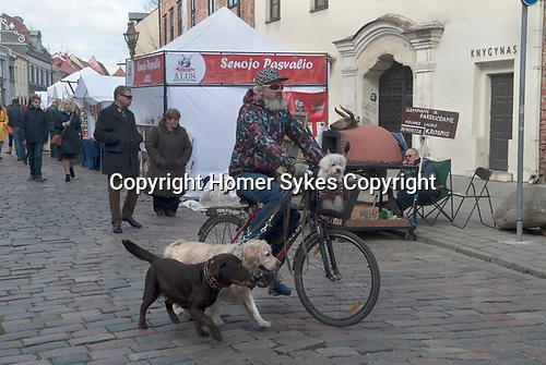 Kaunas Lithuania man with three pet dogs. 2017 2010s,