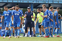 Aurelio Andreazzoli coach of Empoli FC talks with his players during the Serie A football match between Empoli FC  and Venezia FC at Carlo Castellani stadium in Empoli (Italy), September 11th, 2021. Photo Paolo Nucci / Insidefoto