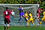 18 September 2011: University of Vermont Catamount Goalkeeper Dave Ramada, a Junior from Essex, VT, preserves his shut out with a save against the Harvard University Crimson at Centennial Field in Burlington, Vermont. The Catamounts defeated the visiting Crimson 1-0, earning their 3rd straight victory of the 2011 season. Mandatory Credit: Ed Wolfstein Photo