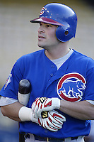 Augie Ojeda of the Chicago Cubs before a 2002 MLB season game against the Los Angeles Dodgers at Dodger Stadium, in Los Angeles, California. (Larry Goren/Four Seam Images)