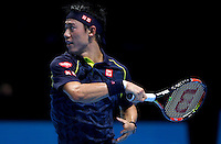Kei Nishikori of Japan in action at the ATP World Tour Finals, The O2, London, 2015