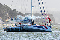 Pip Hare returns to Britain after completing the Vendee Globe round the world race.